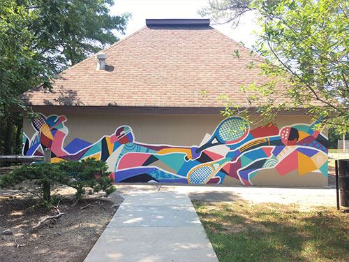 Colorful tennis mural at Whippoorwill Park