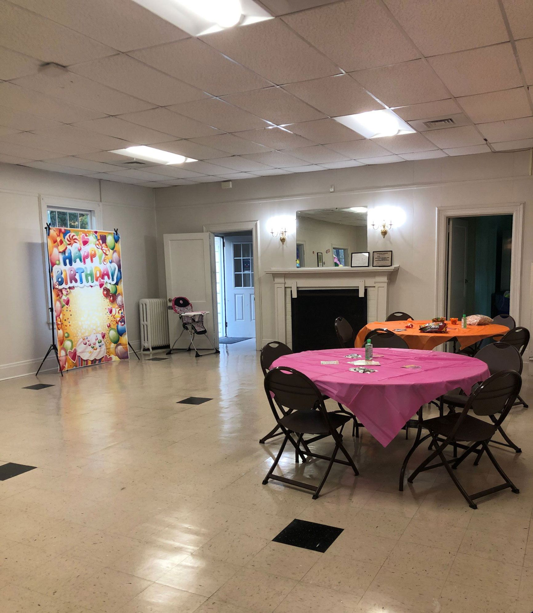 Forest Hills Neighborhood Clubhouse Large Meeting Room Decorated for a Birthday Party