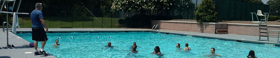People in the pool doing water aerobics